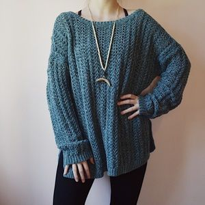 Loft Blue + White Chunky Knit Sweater